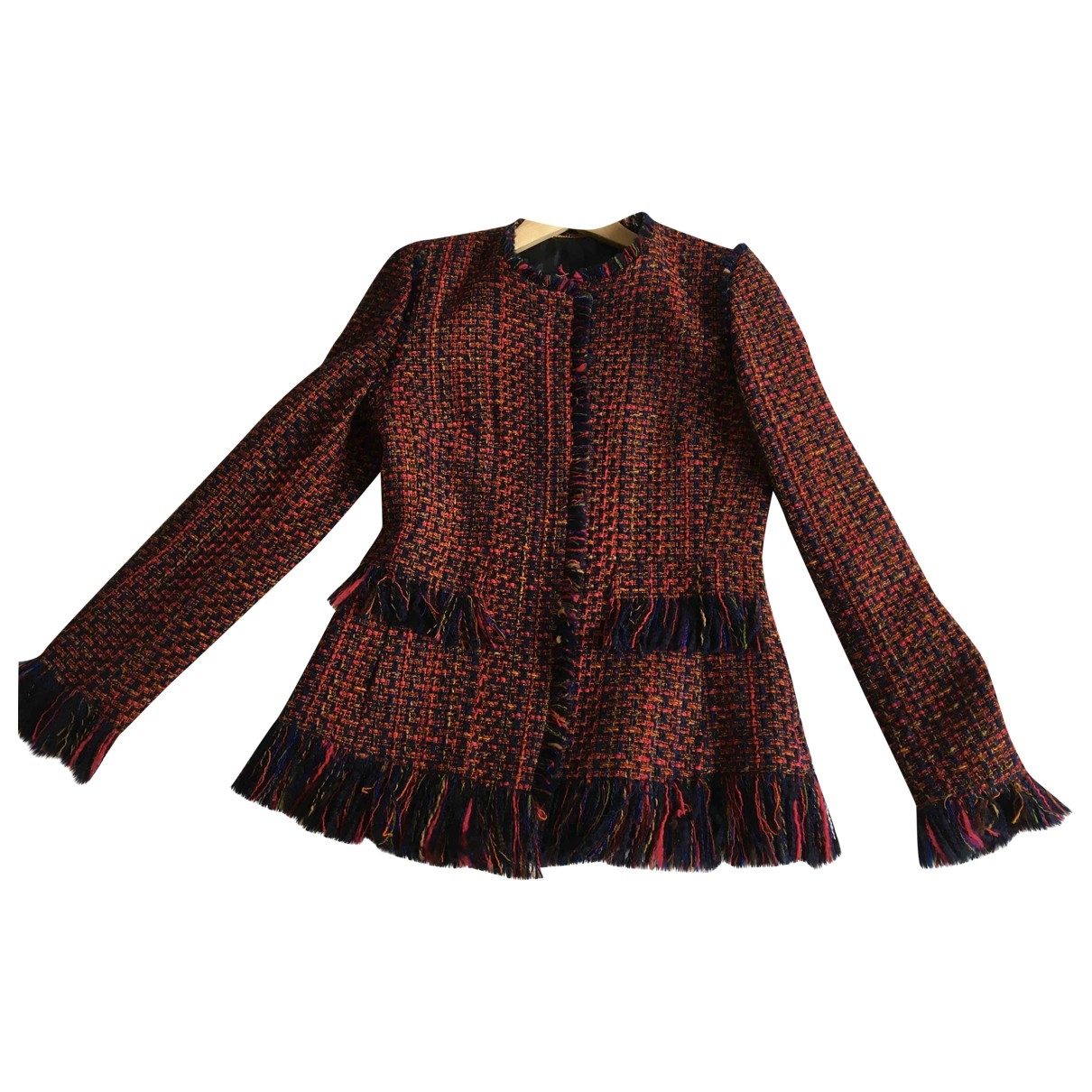 Non Signe / Unsigned \N Jacke in  Bordeauxrot Tweed