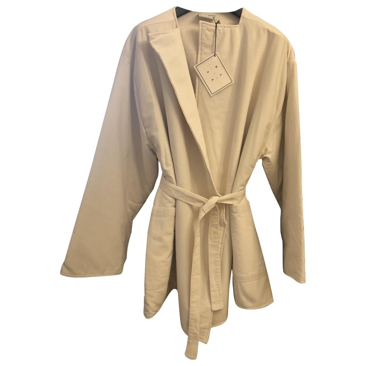 Baserange - Veste   pour femme en coton - ecru