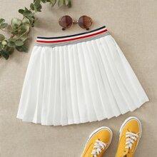 Falda con fruncido de cintura de rayas