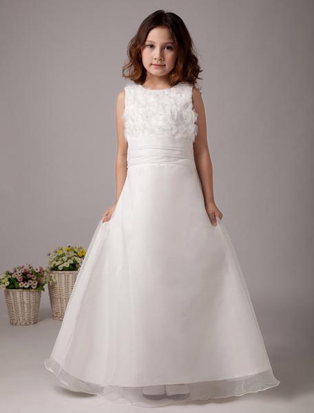 Milanoo Cute White Sleeveless Embroidery Satin Flower Girl Dress