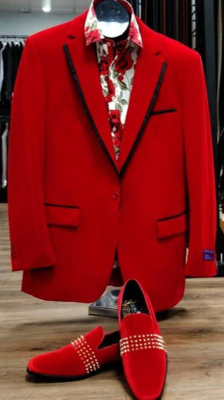 Mens Single Breasted Peak Lapel Red Suit