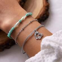 3pcs Rhinestone Decor Heart & Bead Decor Bracelet