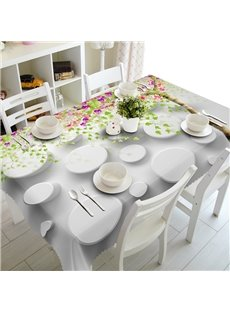 White Circle and Flowers Pattern Home Decoration Washable 3D Tablecloth