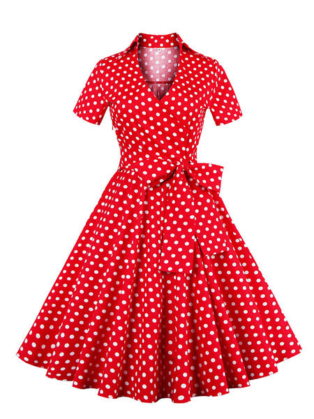 Milanoo Red Vintage Dress Polka Dot Bow Short Sleeve V-neck Pleated Retro Dress For Women