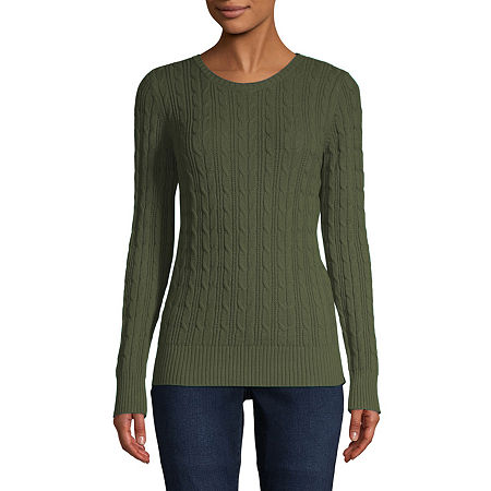 St. John's Bay Cable Womens Crew Neck Long Sleeve Pullover Sweater, Petite Small , Green
