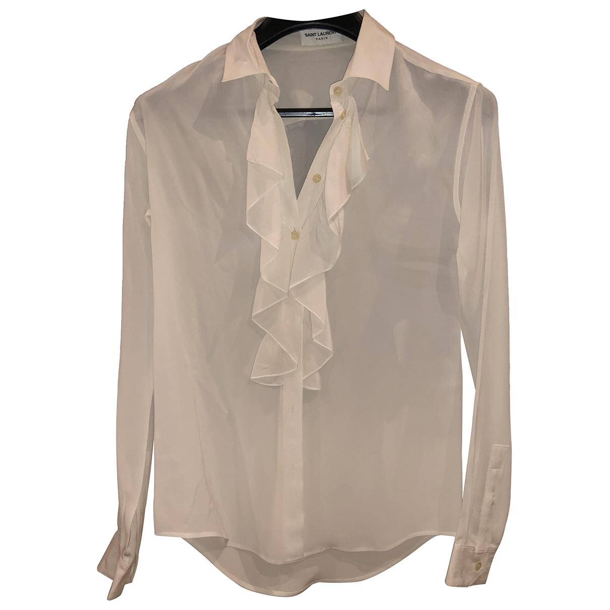 Saint Laurent \N White Silk  top for Women 34 FR