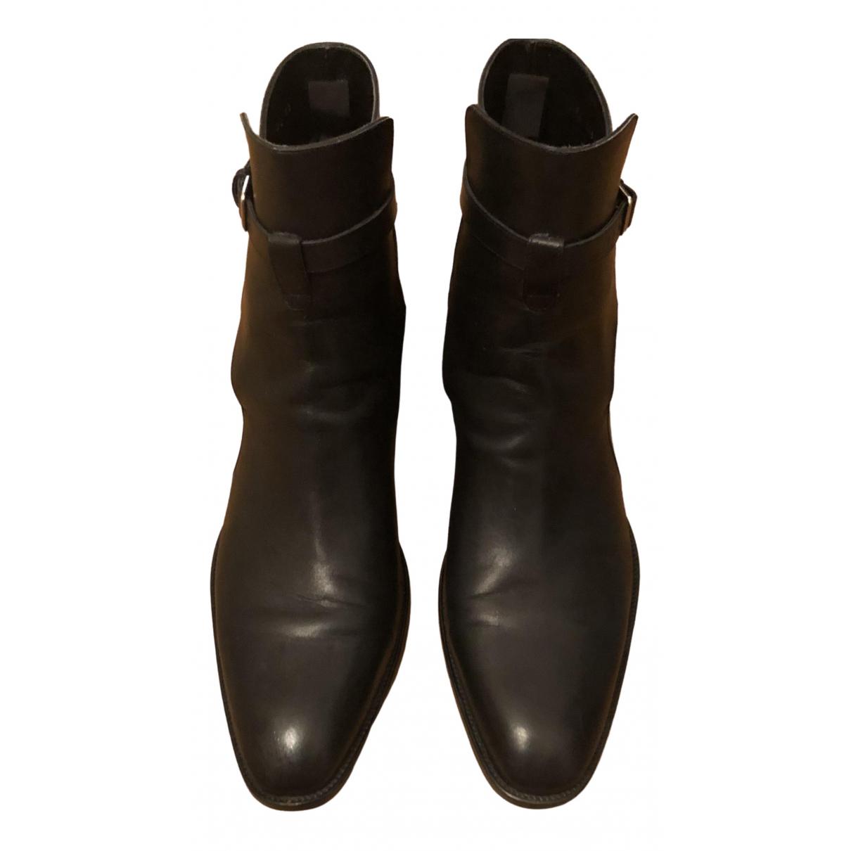 Saint Laurent - Bottes.Boots Wyatt pour homme en cuir - noir