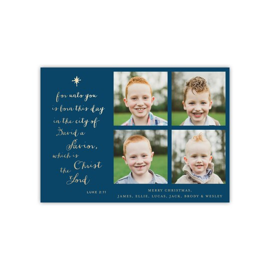 20 Pack of Gartner Studios® Personalized Religious Script Flat Foil Religious Holiday Foil Photo Card in Navy Blue | 5