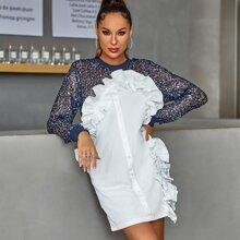 DKRX Combo Kleid mit Rueschen, Knopfen vorn und Pailletten