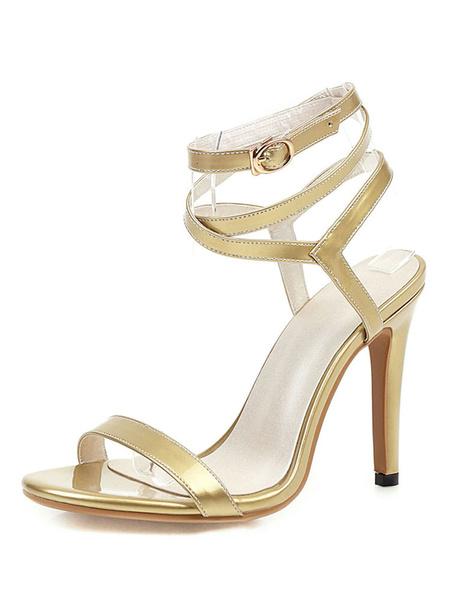 Milanoo Sandalias de tiras plateadas Tacon de aguja Zapatos de talla grande dorados con punta abierta