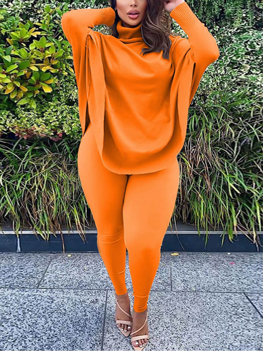 LW Lovely Casual Turtleneck Loose Croci Plus Size Two-piece Pants Set