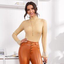 Rippenstrick Pullover mit hohem Kragen und Schosschenaermeln