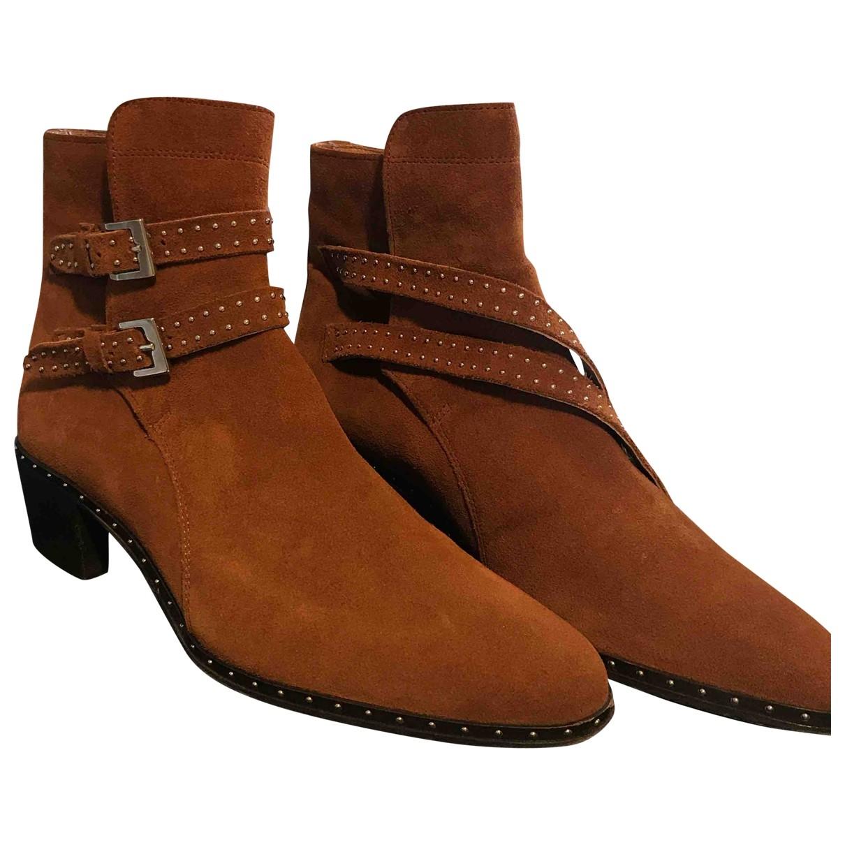 The Kooples - Boots   pour femme en suede - camel