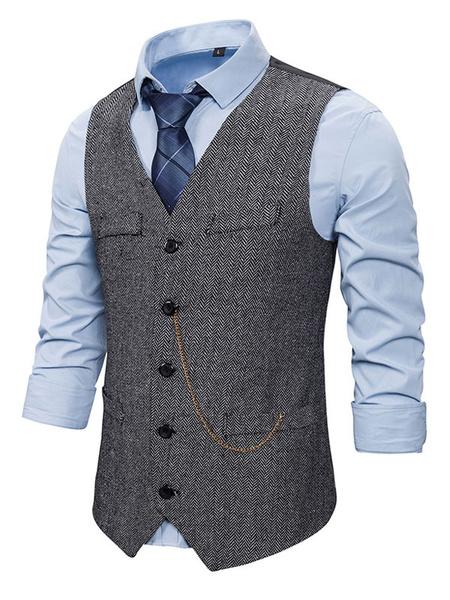 Milanoo Chalecos de vestir para hombre Botones Chaleco sin mangas negro
