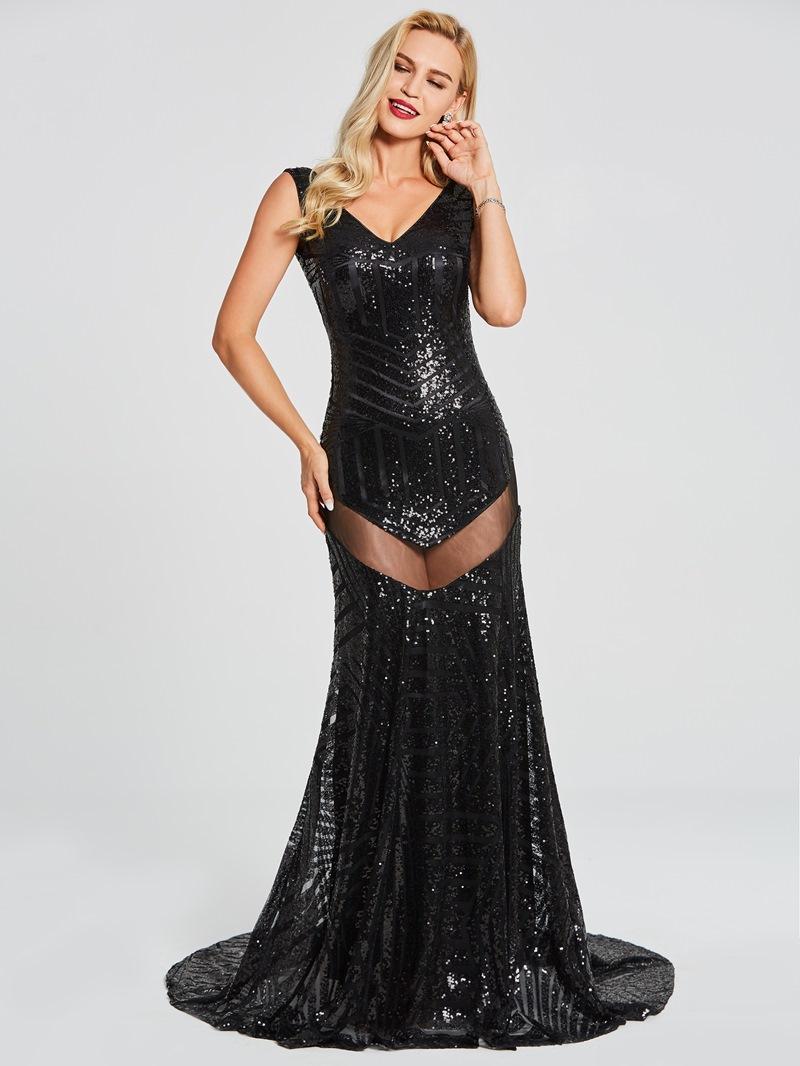 Ericdress Sexy V Neck Sequins Backless Mermaid Evening Dress