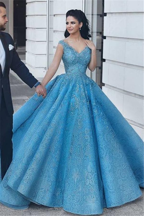 Puffy Lace V-Neck Evening Dresses   Sleeveless Blue Wedding Reception Dress