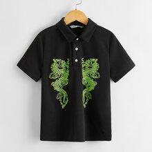 Boys Chinese Dragon Print Polo Shirt