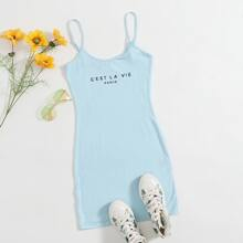 Letter Graphic Bodycon Dress