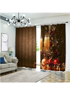 Christmas Backdrop 3D Blackout and Dust-proof Curtains with Celebration Print