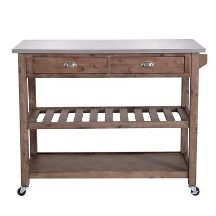 BM209090 2 Drawers Wooden Kitchen Cart with Metal Top and Casters  Gray and