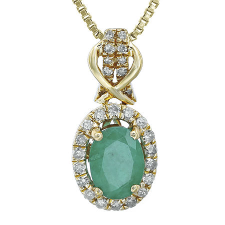 1/7 CT. T.W. Diamond and Genuine Emerald 10K Yellow Gold Drop Pendant Necklace, One Size , No Color Family