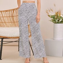 Fold Pleated Detail Wide Leg Allover Print Pants