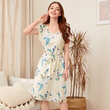 Floral And Crane Print Belted Night Dress