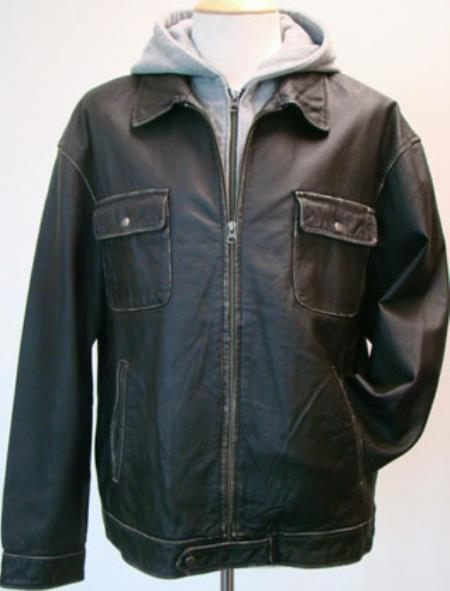 Mens Contrasting Hood And Washed Leather Zip Jacket Distressed Black