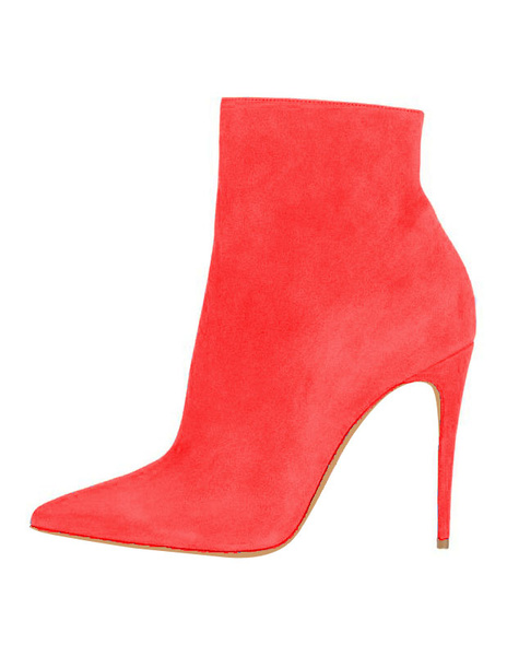 Milanoo Suede Black Booties High Heel Pointed Toe Ankle Boots Women's Solid Color Stiletto Party Shoes