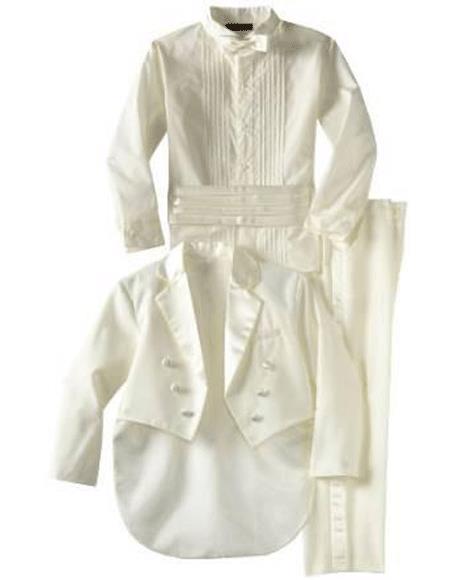 Boys Children Kids Tailcoat Tuxedo Off White