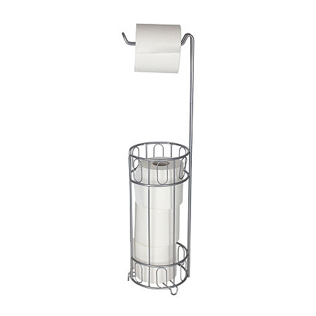 Home Basics Toilet Paper Storage, One Size , Silver