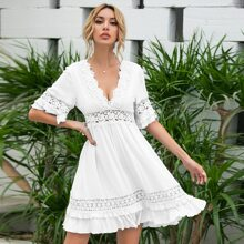 Tie Back Backless Guipure Lace  Panel Dress