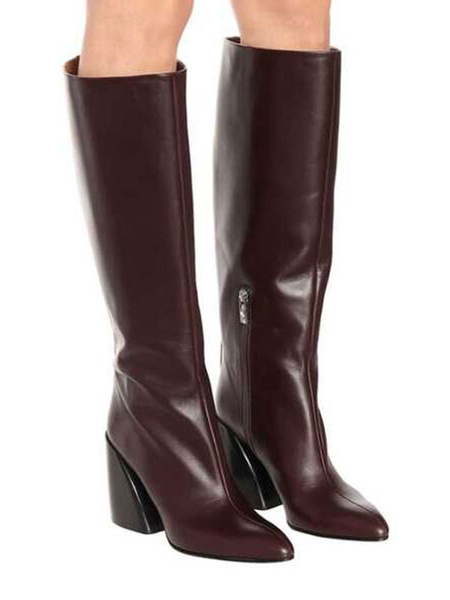 Milanoo Knee-High Boots PU Leather Coffee Brown Pointed Toe Chunky Heel Pointed Toe Women\'s Boots