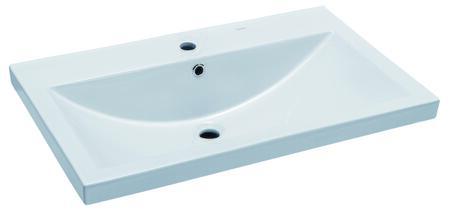 BH001 Ceramic Rectangular Drop in Sink with Porcelain  Sleek Modern Design and 1 3/8 Diameter Predrilled Hole in