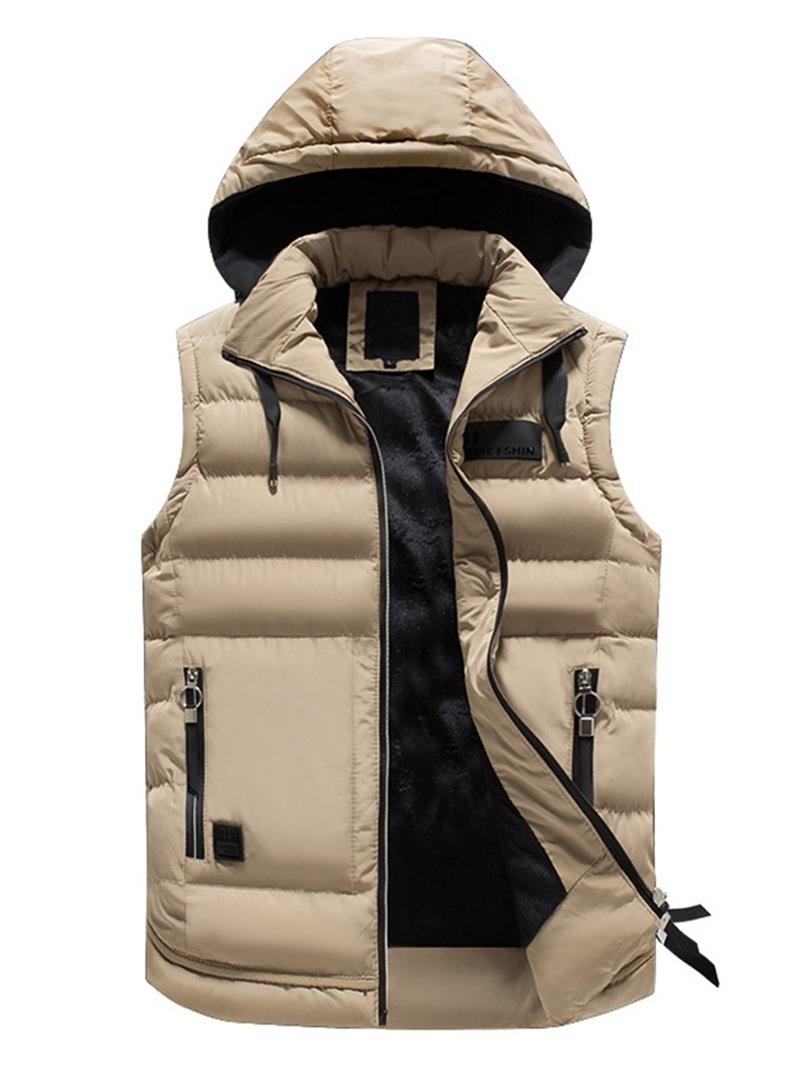 Ericdress Removable Hooded Plain Pocket Zipper Mens Quilted Vest