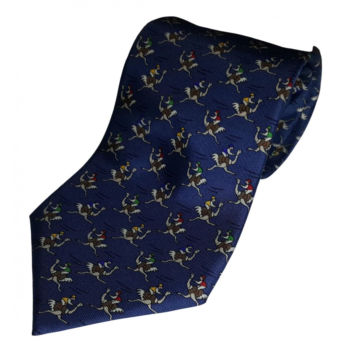 Hermes - Cravates   pour homme en soie - bleu