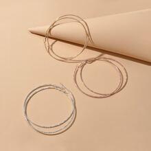 3pairs Shiny Metal Hoop Earrings