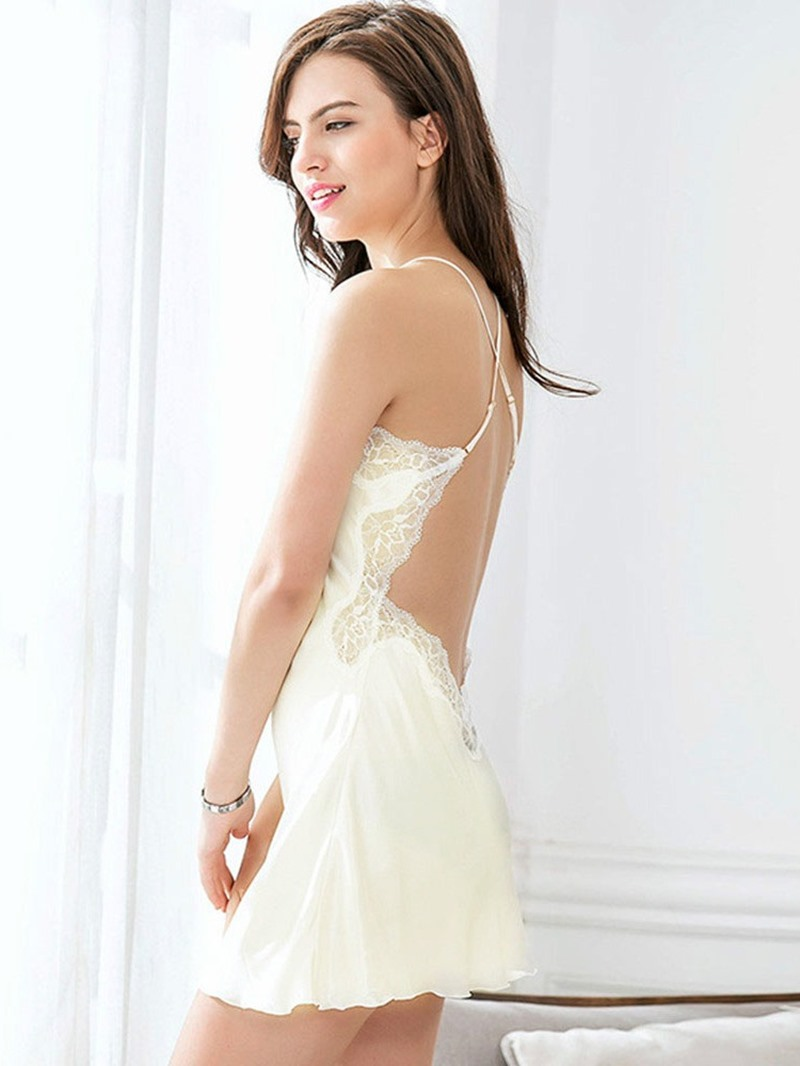 Ericdress Plain Above Knee Sexy Backless Nightgown