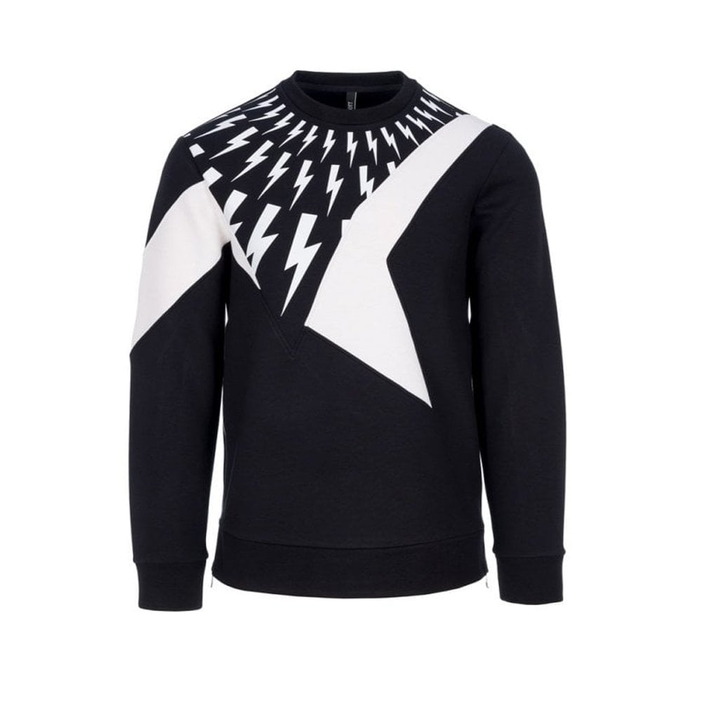 Neil Barrett Lightning Bolt Sweater Colour: BLACK, Size: MEDIUM