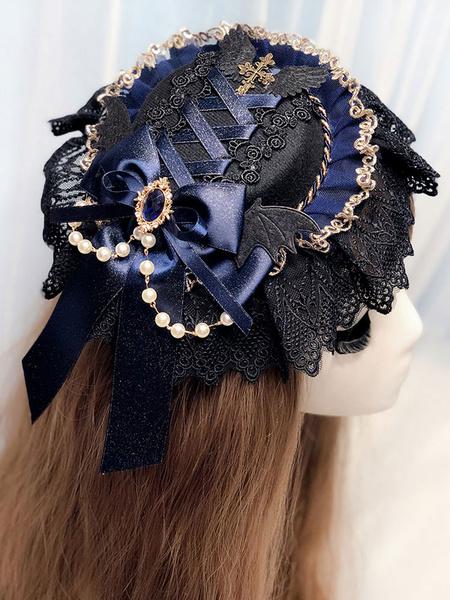 Milanoo Gothic Lolita Headdress Black Lace Chains Ribbons Headwear Lolita Hair Accessories