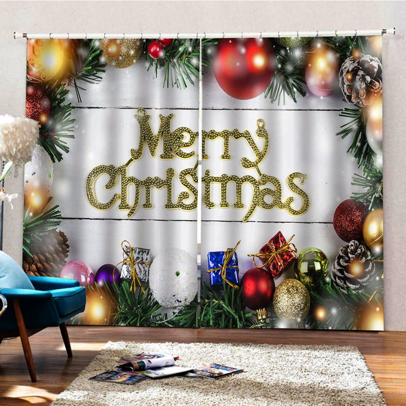 Christmas 3D Digital Print Curtain with Pine Leaves Ball Classic Design Print