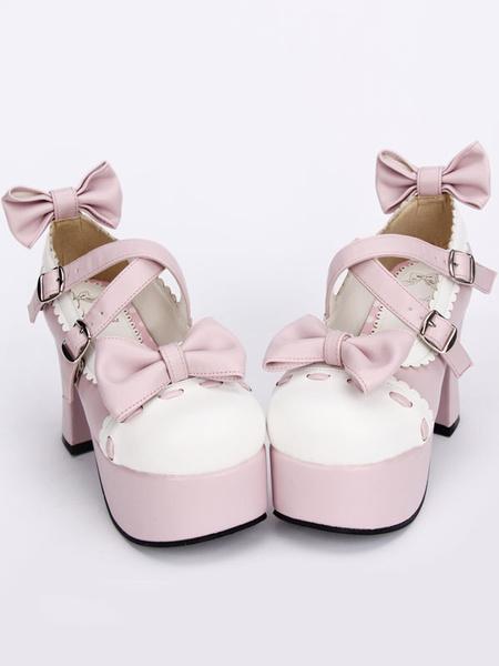Milanoo Pink Lolita Pony Heels Shoes Platform White Trim Bows Straps Buckles