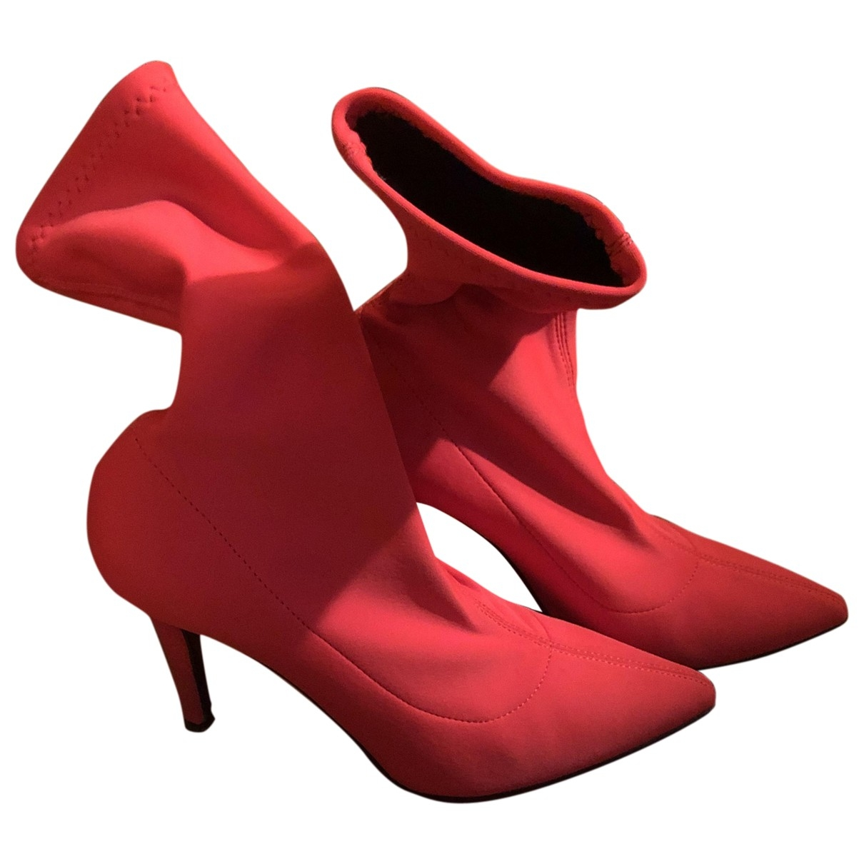 Non Signé / Unsigned \N Red Cloth Ankle boots for Women 40 EU