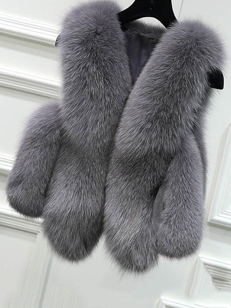 Ericdress Faux Fur Plain Short Vest
