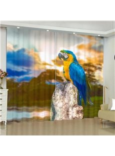 3D Animal Print Eclipse Blackout Curtains with Colorful Parrot Pattern
