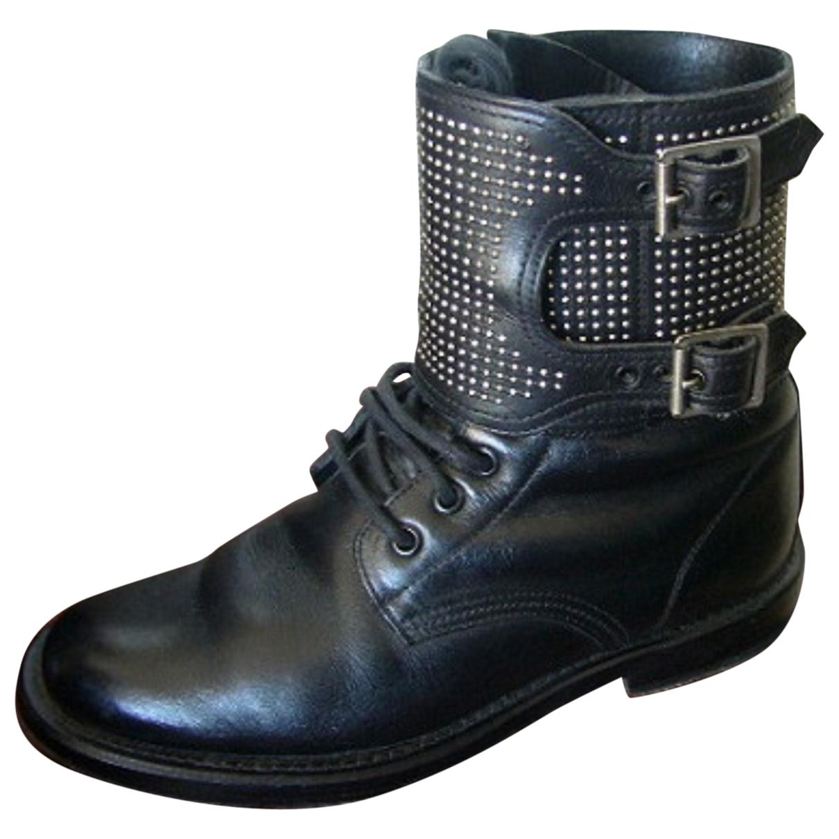Saint Laurent \N Black Leather Ankle boots for Women 37.5 EU