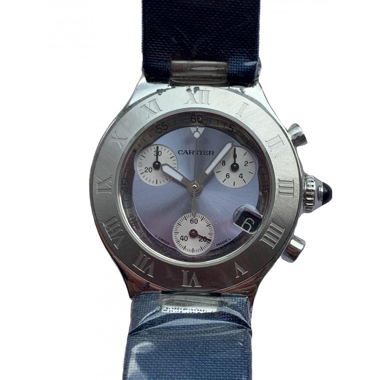 Cartier - Montre Pasha Chronographe pour femme en acier - bleu