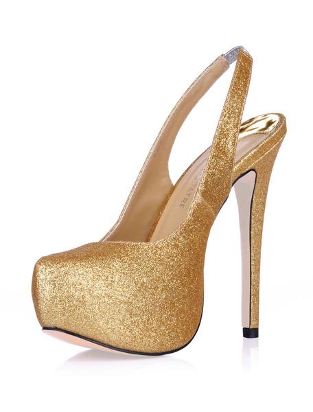 Milanoo Womens Glitter Platform Slingbacks High Heel Pumps Party Shoes