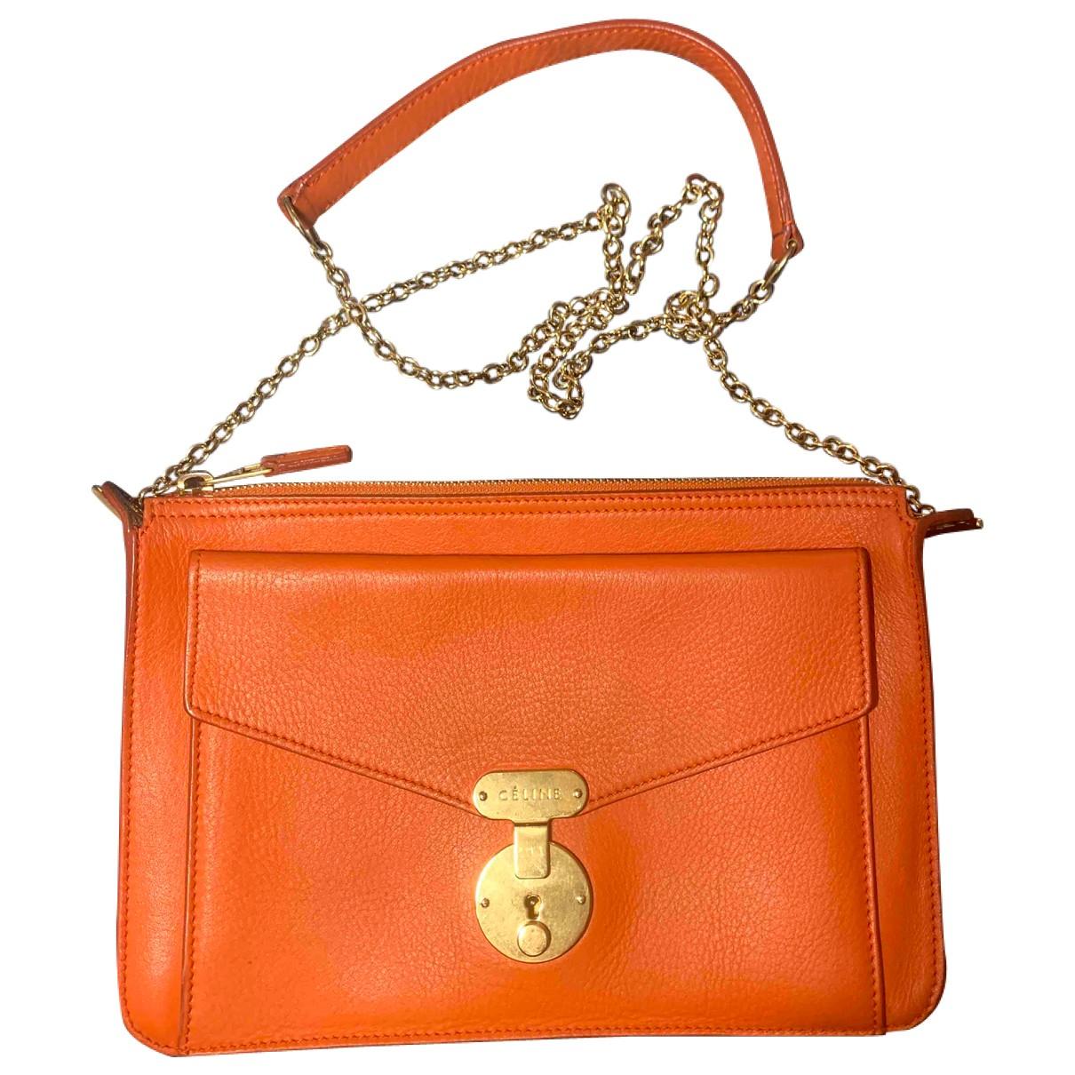 Celine - Sac a main   pour femme en cuir - orange