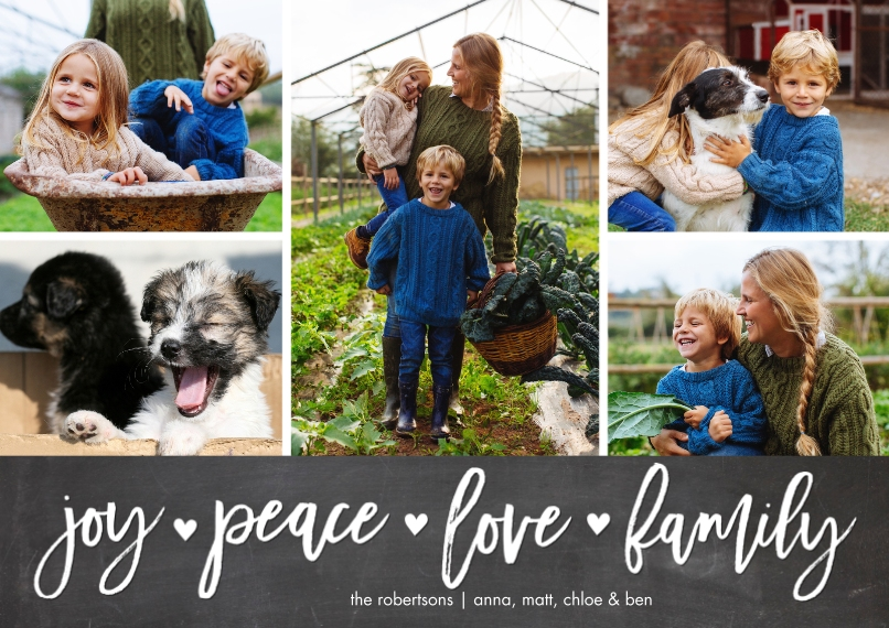 Christmas Photo Cards Flat Matte Photo Paper Cards with Envelopes, 5x7, Card & Stationery -Holiday Joy Peace Memories by Tumbalina